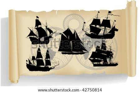 Vector silhouettes, old ship 3, vector illustration
