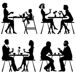 Vector silhouettes people in cafe