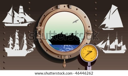 Vector silhouettes,  ship 3, vector illustration