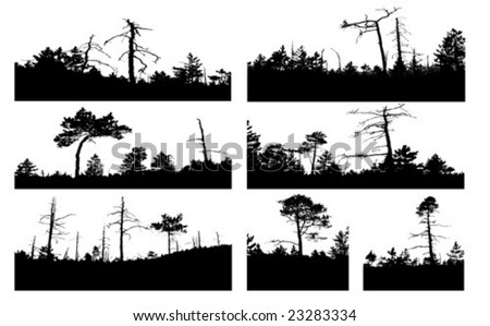 vector silhouettes tree on white background