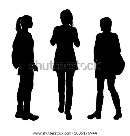 Vector silhouettes women standing and walking, with backpack,  people, group, different poses, black color, isolated on white background