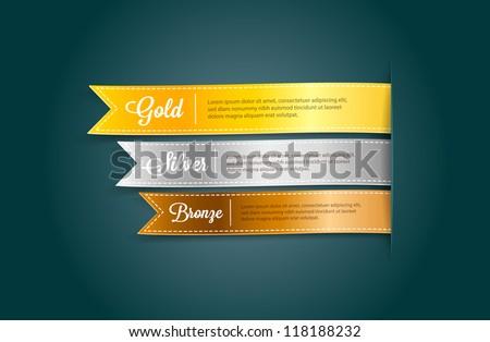 vector silky ribbon tags
