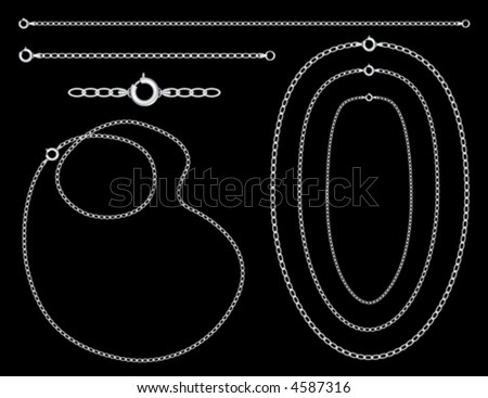 vector, SILVER CHAINS,  necklaces, bracelets with clasps, detailed shading, black background. Easy to customize. EPS8 organized in groups for easy editing.