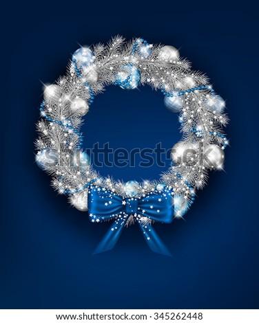 vector silver christmas wreath