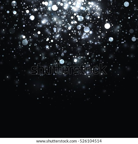 Vector silver glowing light glitter background. Christmas white magic lights background. Star burst with sparkles on black background.