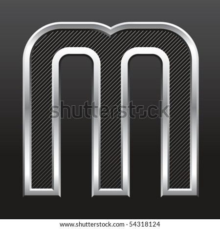 vector silver metallic letter with stripes isolated