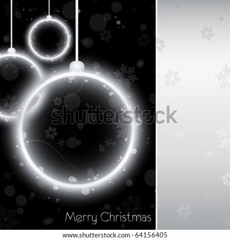 Vector - Silver Neon Christmas Ball Card on Black Background