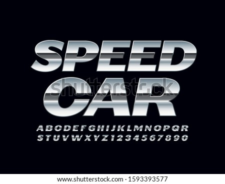 vector silver sign speed car