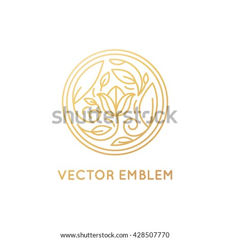 Vector simple and elegant logo design template in trendy linear style - abstract emblem for floral shops or studios, wedding florists, creators of custom floral arrangements