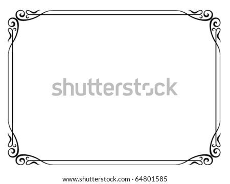 Vector simple black ornamental decorative frame