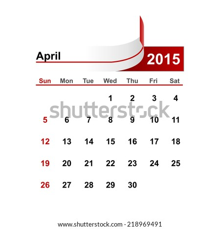 Vector simple calendar 2015 year april month