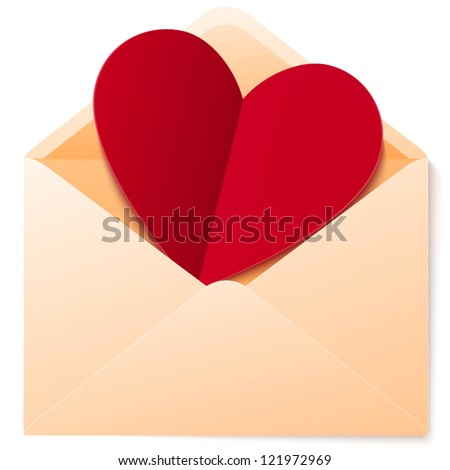 Vector simple envelope with red paper heart valentine card inside - stock vector