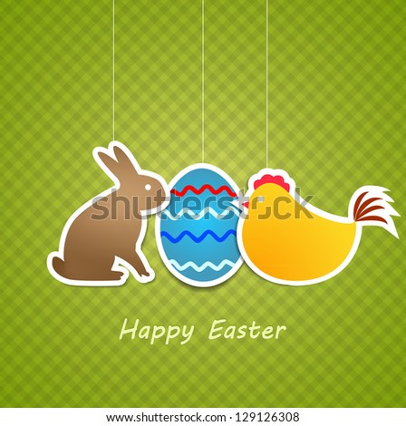 Vector Simple green easter card with egg, chicken and rabbit made from paper stripe