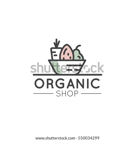Vector Simple Icon Style Illustration Logo for Organic Shop or Market, Minimal Simple Badge with Fresh Vegetables in a Basket