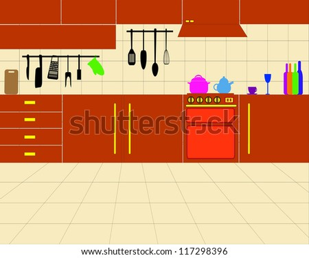Simple Kitchen Drawing vector simple kitchen design - 117298396 : shutterstock