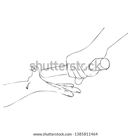 Vector Simple Outline  Athlete passing a baton stick to the partner