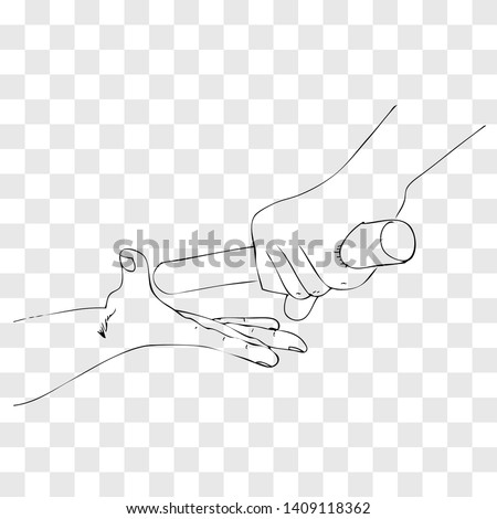 Vector Simple Outline Manual Draw Hand Athlete passing a baton stick to the partner