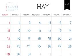 Vector simple planning calendar May 2016. Weeks start on Sunday