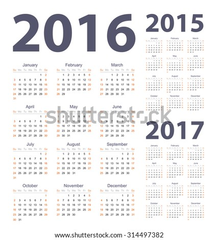Vector simple set of 2016, 2017, 2015 year calendars. Week starts from Sunday.
