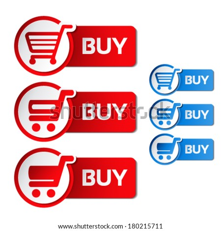 Vector simple shopping cart, menu items, white buttons with trolley