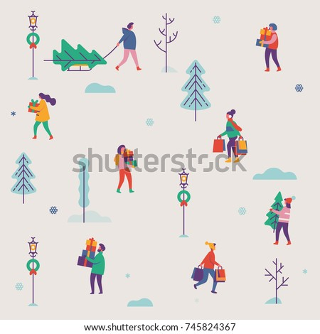 Vector simple soft colored pattern on winter holiday season and Christmas eve festive chores with abstract people carrying gifts and evergreen trees in snowy background