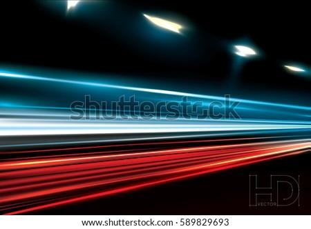 vector simulation of night tragic long exposure.  High definition editable vector