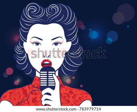 vector singing woman chinese...