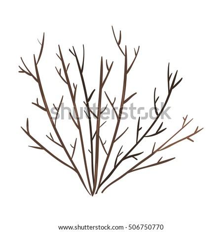 vector single bare brown bush