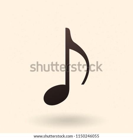 Vector Single Black Silhouette Icon - Music Note