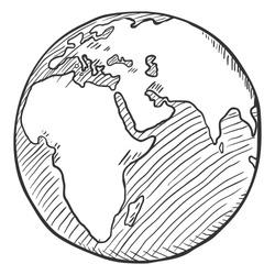 Vector Single Black Sketch Globe Illustration. Planet Earth.