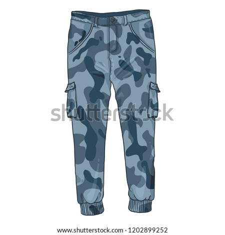 Vector Single Cartoon Illustration - Blue Camouflage Cargo Pants on White Background