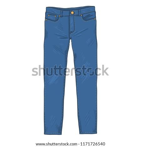 Vector Single Cartoon Illustration - Denim Jeans Pants. Front View.