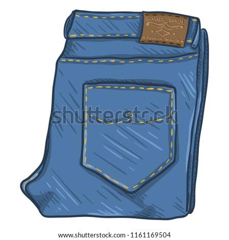 Vector Single Cartoon Illustration - Folded Denim Jeans on White Background