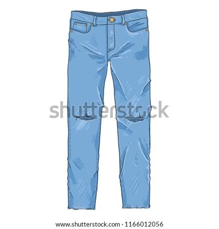 Vector Single Cartoon Illustration - Ripped Denim Jeans Pants