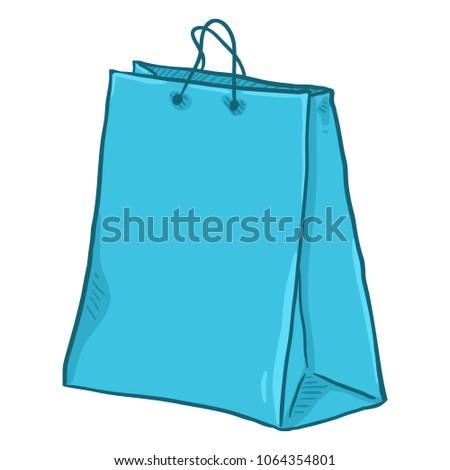 Vector Single Cartoon Light Blue Plastic Shopping Bag on Isolated White Background