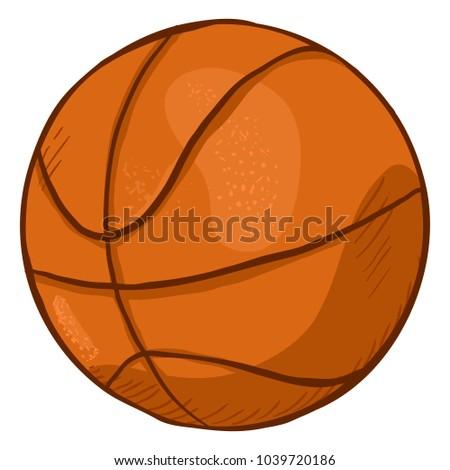 Vector Single Cartoon Orange Ball for Basketball