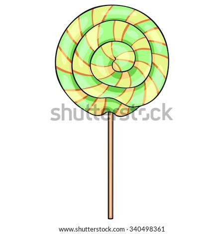 Vector Single Cartoon Swirl Lolipop Stockfoto ©