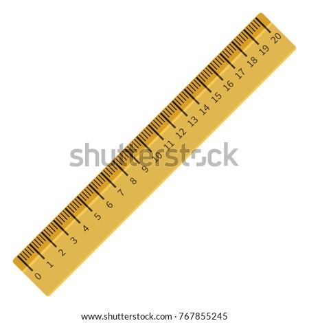 Vector Single Flat Illustration - Yellow Ruler. School Tool.