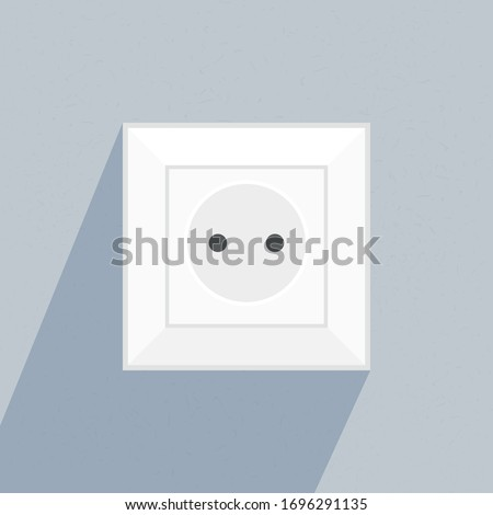 Vector Single Flat White Socket Illustration on Blue Wall Сток-фото ©