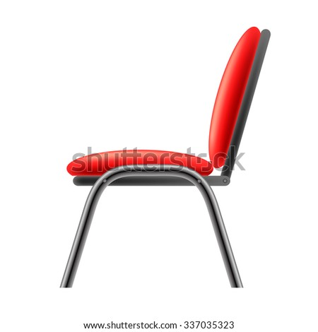 Vector Single Red Office Chair Isolated On Whitwe Background Side View