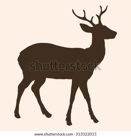 Vector Single Silhouette of Dappled Deer