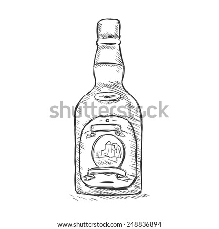 vector single sketch bottle of