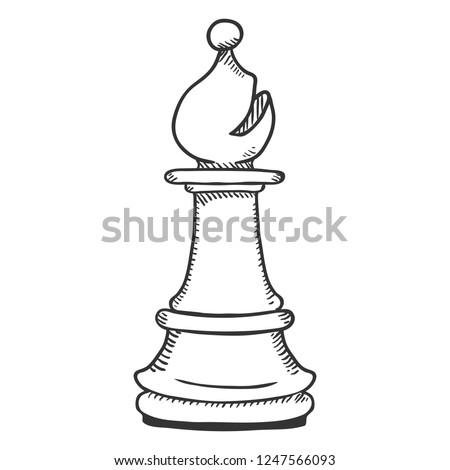 Vector Single Sketch Illustration - Chess Bishop Figure