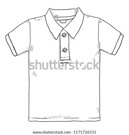 Vector Single Sketch Illustration - Classic Polo Shirt