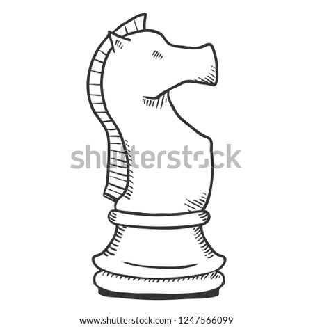 Vector Single Sketch Illustration - Knight Chess Figure
