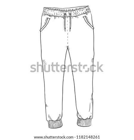 Vector Single Sketch Illustration - Training Pants on White Background