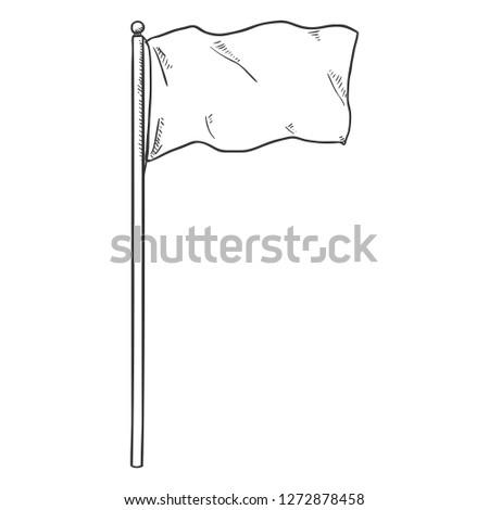 Vector Single Sketch Waving Flag