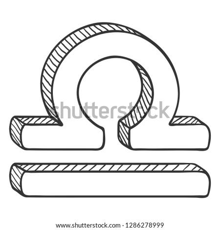 Vector Single Sketch Zodiac Sign - Libra