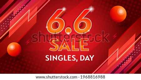 vector singles,day sale6.6background banner template Shopping day sale poster flash sale