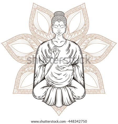 vector sitting buddha in lotus...